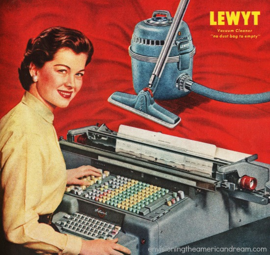 secretary at adding machine 1950s