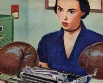 vintage illustration secretary