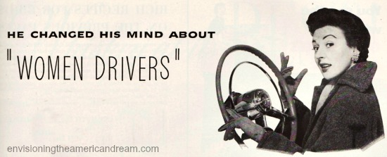 vintage illustration woman at the wheel of car