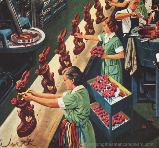 vintage illustration Easter chocolate bunnies factory