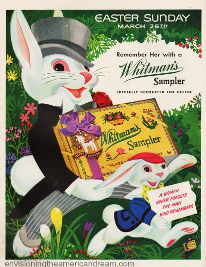 Easter Whitmans ad illustration Easter Bunnies