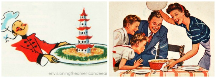 vintage illustrations Food Chinese  American family