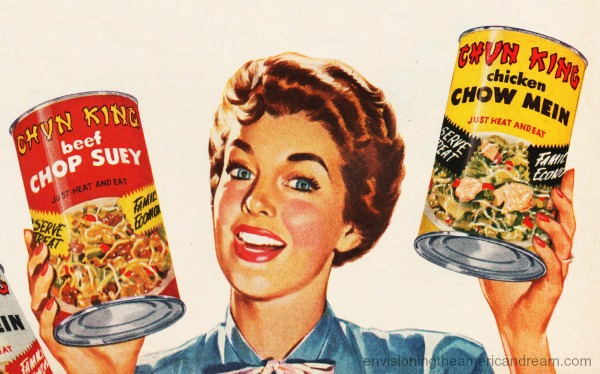 Food Chun King  ad housewife 1950s holding cans