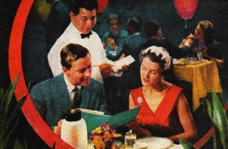 photo 1950s couple in chinese restaurant