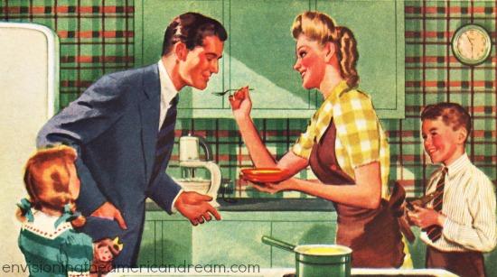 vintage illustration family in kitchen