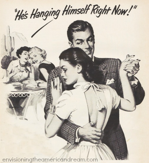 vintage illustration man and woman dancing 1951