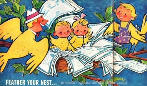 vintage cartoon lllustration family as birds 1960
