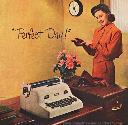 vintage ad IBM typewriter secretary at desk