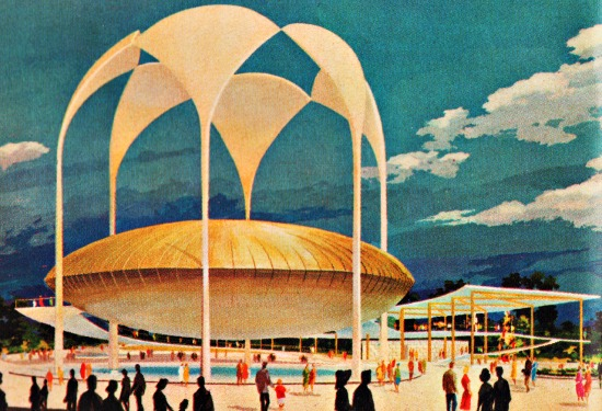 Worlds Fair 19 64 illustration  Johnsons Wax Pavilion