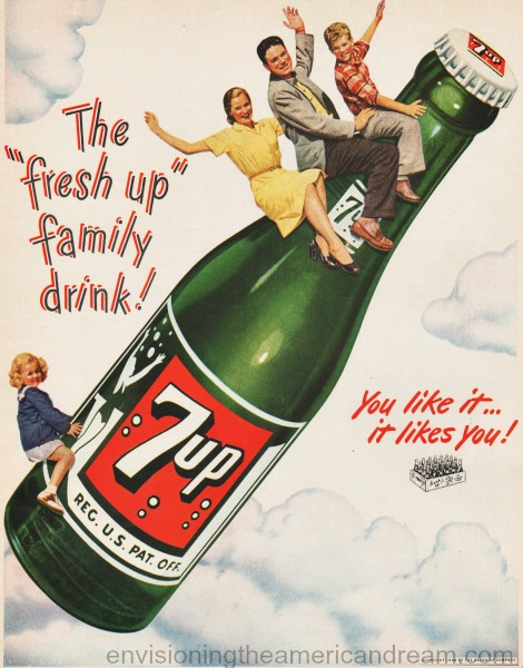 vintage 7-Up soda ad family riding a soda bottle 1948