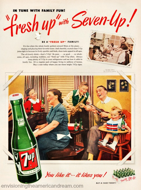 vintage ad 7-Up happy 1950s family playing instruments