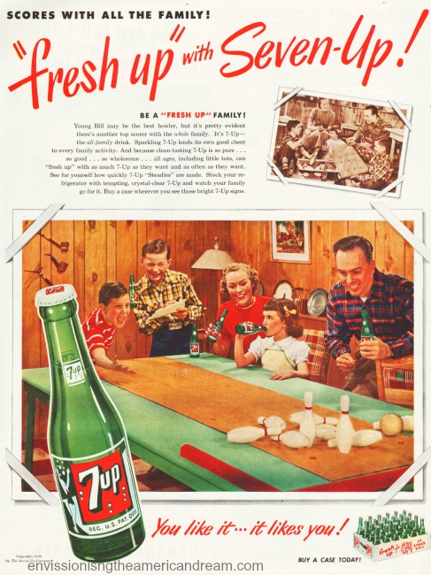 vintage 7-Up ad 1950 suburban family at home