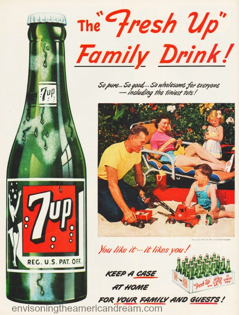 vintage 7-Up ad suburban family  1950s