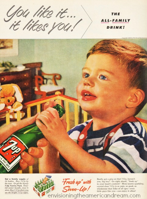 vintage child drinking seven up