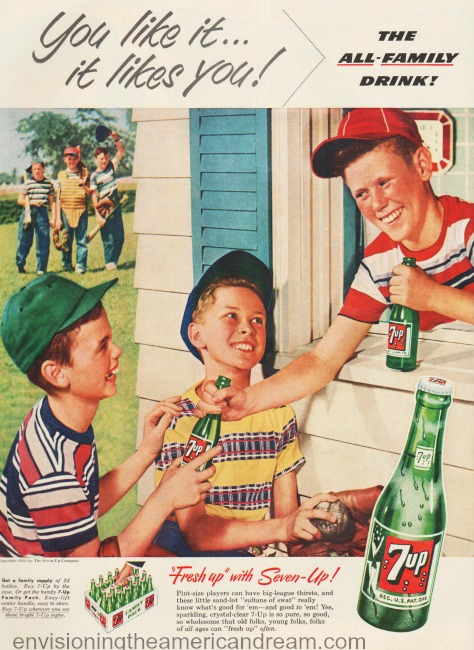 vintage 7-Up ad suburban boys playing baseball