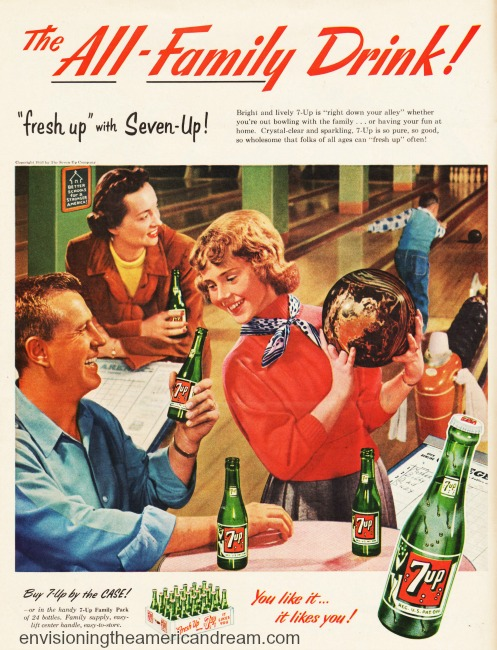 1950s family bowling 7 up ad