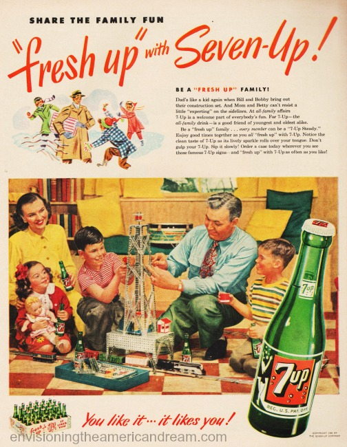 Vintage 7 Up ad nuclear family at home  1949