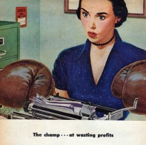 vintage illustration secretary with boxing gloves