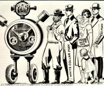 vintage illustration 1933 Man vs Machine