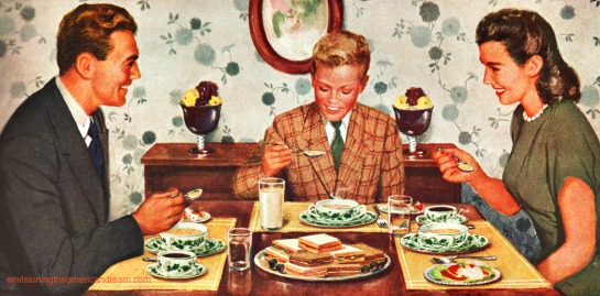 vintage family eating dinner illustration
