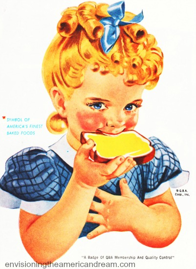 vintage illustration girl eating bread