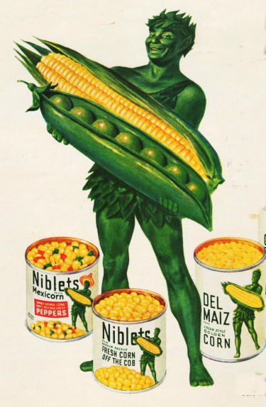 Vintage Green Giant illustration holding corn