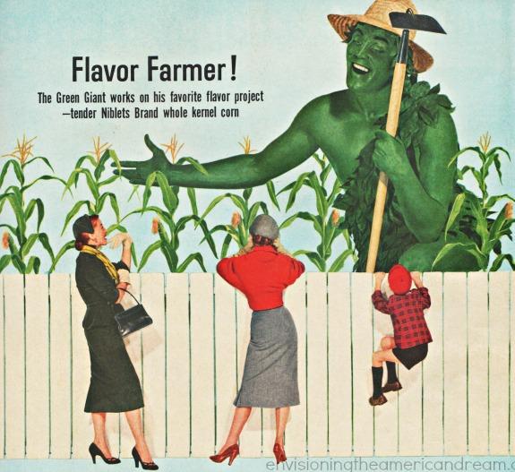 illustration Green Giant dressed as farmer 1953