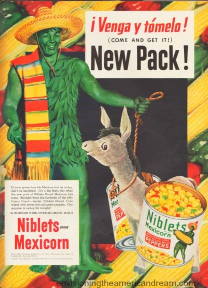 Vintage Jolly Green Giant dressed in Mexican oufit vintage ad 1950s