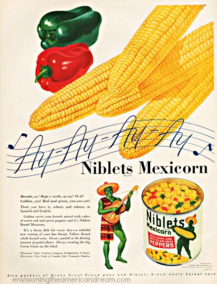 vintage green giant mexicorn ad 1947