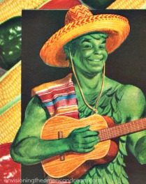 vintage illustration Green Giant in Mexican outfit