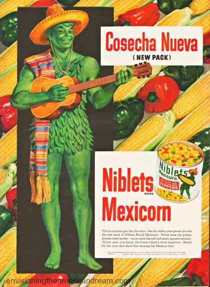 vintage illustration Green Giant dressed in Mexican outfit