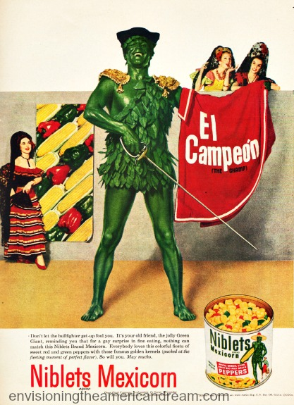 Green Giant illustration as bullfighter vintage ad 1950s