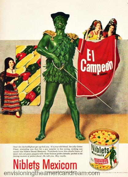 Green Giant illustration as bullfighter vintage ad 1950s