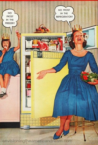 vintage picture Mom with crown refrigerator kitchen 1960