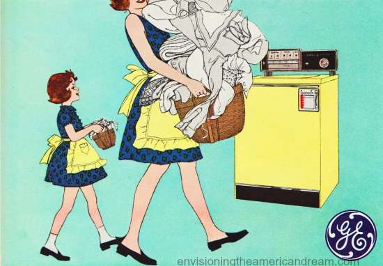 illustration mother daughter laundry 1960s