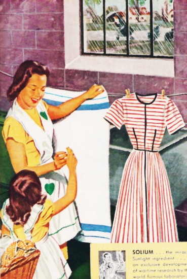 illustration mother daughter doing laundry 1940s