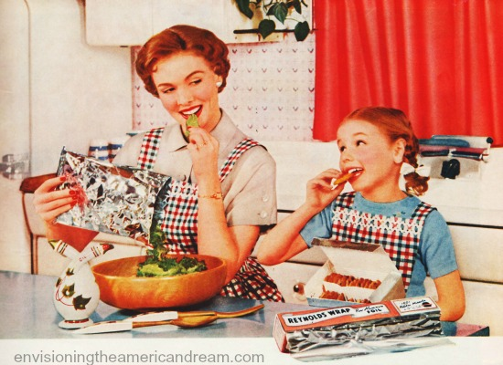 mother daughter cooking 1950s kitchen