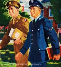 vintage illustration WWII vets college