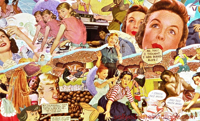 sallyedelsteincollage art work appropriated images of vintage women