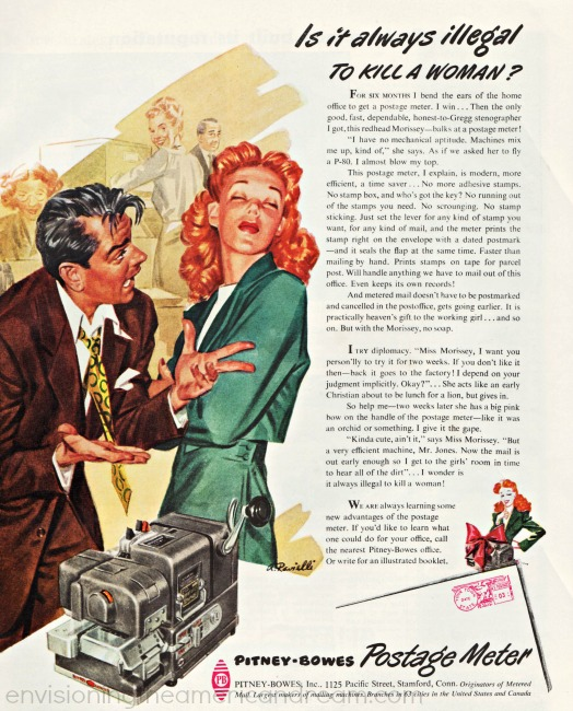 Vintage sexist ad illustration man and woman office 1940s