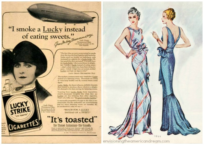 vintage Lucky Strike ad and Fashion illustration 1930s