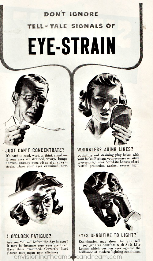vintage ad eye strain illustration people with glasses