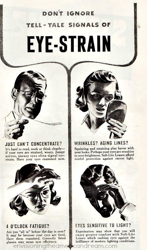 vintage ad eye strain illustration people with glasses
