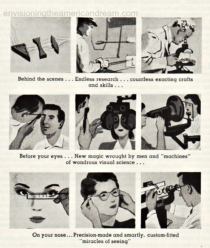 vintage illustration of eye exams 1950