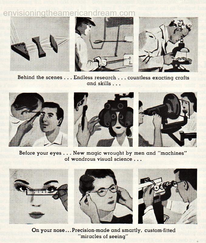 vintage illustration of eye exams 1950