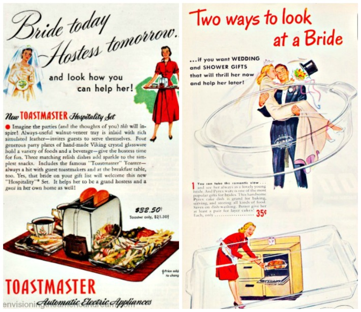 Bride wedding presents toastmaster pyrex vintage ads
