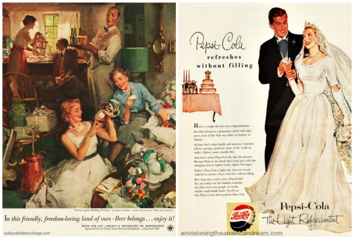 vintage ads featuring brides and wedding celebrations