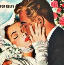 vintage illustration bride and groom