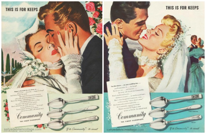 vintage ads Jon Whitcomb illustration bride and groom weddding