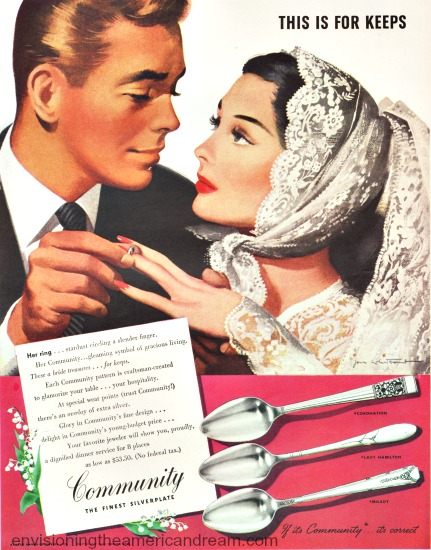 vintage illlustratiin by Jon Whitcomg bride and groom wedding